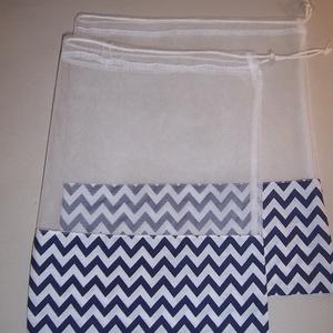 Textilzsák szett kék chevron mintás  (textilcseppek) - Meska.hu
