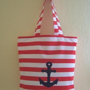 Készlet kisöprés! Piros csíkos táska bélelt  (textilcseppek) - Meska.hu