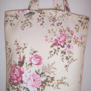 Drapp rózsa virágos táska normál füllel (textilcseppek) - Meska.hu
