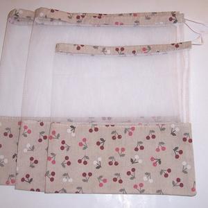 Textilzsák 3db-os szett cseresznye mintás  (textilcseppek) - Meska.hu