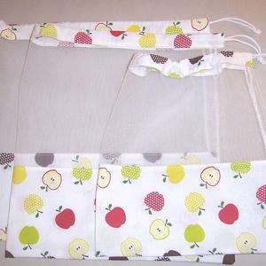 Textilzsák 3db-os szett alma mintás  (textilcseppek) - Meska.hu
