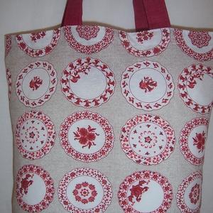 Bordó tányér mintás táska  (textilcseppek) - Meska.hu