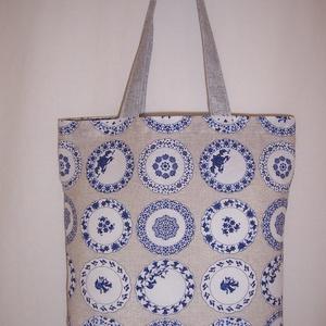 Kék tányér mintás táska  (textilcseppek) - Meska.hu