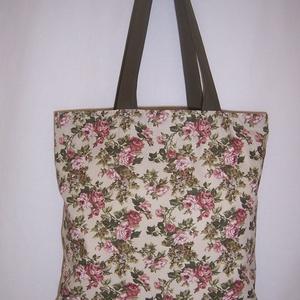 Rózsa mintás táska zöld, Táska, Divat & Szépség, Táska, NoWaste, Bevásárló zsákok, zacskók , Válltáska, oldaltáska, Szatyor, Varrás, Rózsa mintás 100 % vékony vászon anyagból készült ez a táska!\n\n\nOldalán és alján dupla varrással erő..., Meska