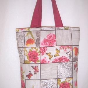 Bordó rózsa mintás táska , Táska, Divat & Szépség, Táska, NoWaste, Bevásárló zsákok, zacskók , Szatyor, Válltáska, oldaltáska, Varrás, Bordó rózsa mintás vastagabb vászonanyagból készítettem ezt a táskát.\n\nOldalán és alján dupla varrás..., Meska