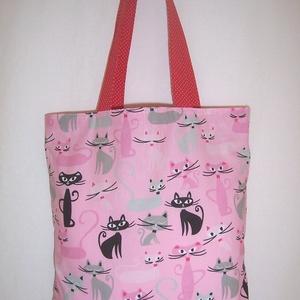 Cica mintás táska rózsaszín , Táska, Divat & Szépség, Táska, NoWaste, Bevásárló zsákok, zacskók , Szatyor, Válltáska, oldaltáska, Varrás, Rózsaszín alapon színes cica mintás 100 % vékony vászon anyagból készült ez a táska!\n\nOldalán és alj..., Meska