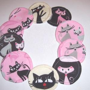 Sminklemosó korong 10 db cicák rózsaszín (textilcseppek) - Meska.hu