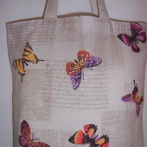 Drapp pillangó mintás táska normál füllel (textilcseppek) - Meska.hu