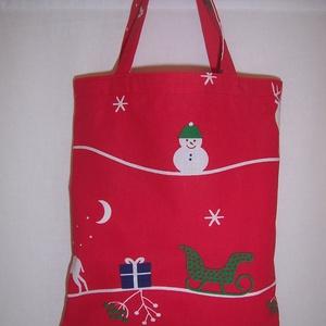 Ajándék átadó kis táska piros (textilcseppek) - Meska.hu
