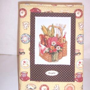 Recept gyűjtő füzet textil borítóval csészés (textilcseppek) - Meska.hu