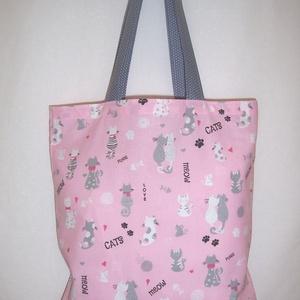 Rózsaszín cica mintás táska szürke  (textilcseppek) - Meska.hu