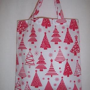 Ajándék átadó kis táska fenyőfás  (textilcseppek) - Meska.hu