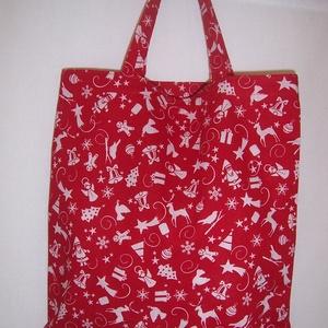 Ajándék átadó kis táska piros mikulás (textilcseppek) - Meska.hu
