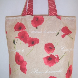 Pipacsos táska drapp  (textilcseppek) - Meska.hu