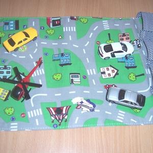 Hordozható autópálya garázzsal munkagépes (textilcseppek) - Meska.hu