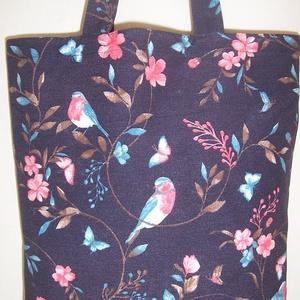 Kék madár mintás táska  (textilcseppek) - Meska.hu