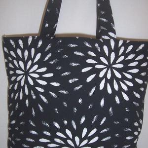 Fekete fehér mintás táska  (textilcseppek) - Meska.hu