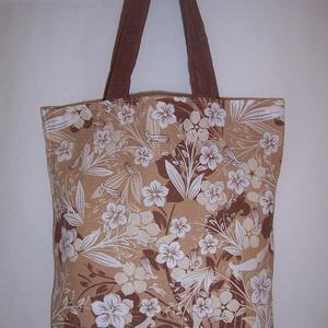 Barna virágmintás táska normál füllel (textilcseppek) - Meska.hu