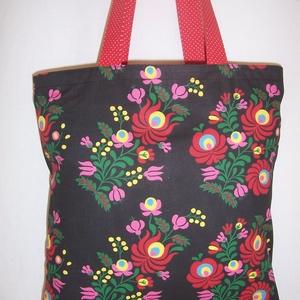 Fekete kalocsai mintás táska  (textilcseppek) - Meska.hu