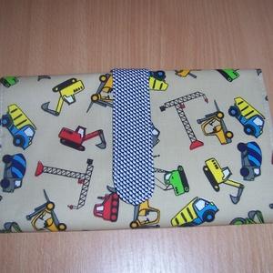 Hordozható autópálya garázzsal drapp munkagépes  (textilcseppek) - Meska.hu