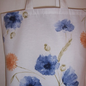Fehér kék virágos táska  (textilcseppek) - Meska.hu