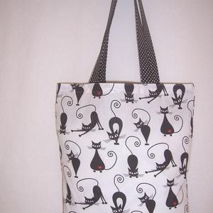 Fekete cica mintás táska fehér  (textilcseppek) - Meska.hu