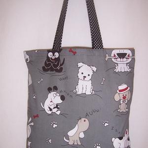 Szürke kutya mintás táska  (textilcseppek) - Meska.hu