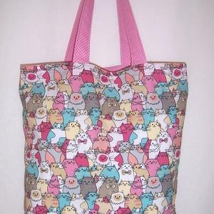 Sok cica mintás táska pink (textilcseppek) - Meska.hu