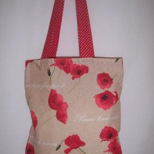Drapp pipacs mintás kis táska  (textilcseppek) - Meska.hu
