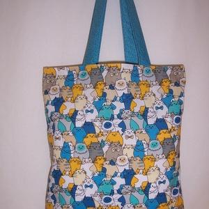 Sok cica mintás táska kék (textilcseppek) - Meska.hu