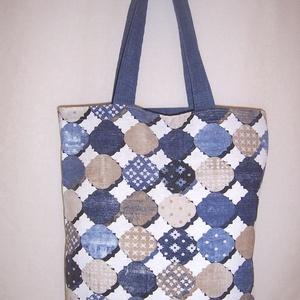 Kék mintás táska  (textilcseppek) - Meska.hu