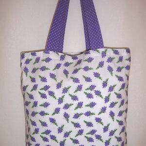 Levendula mintás táska kis csokor  (textilcseppek) - Meska.hu