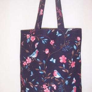 Kék madár mintás kis táska  (textilcseppek) - Meska.hu