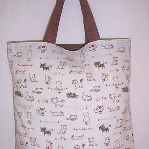 Drapp cica mintás táska rövid füllel  (textilcseppek) - Meska.hu