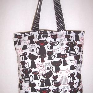 Fekete cica mintás táska  (textilcseppek) - Meska.hu