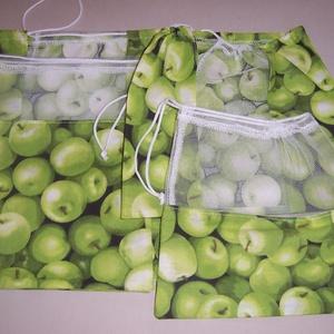 Textilzsák 4 db-os szett zöldalma mintás  (textilcseppek) - Meska.hu