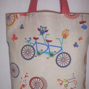 Biciklis baglyos mintás táska  (textilcseppek) - Meska.hu