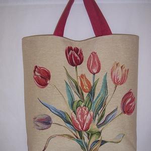 Nagy méretű erős táska rövid füllel  (textilcseppek) - Meska.hu