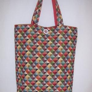 Színes háromszög mintás táska normál füllel  (textilcseppek) - Meska.hu