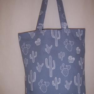 Fehér kaktusz mintás táska farmerkék (textilcseppek) - Meska.hu