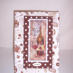 Recept gyűjtő füzet textil borítóval csészés fehér, Otthon & lakás, Naptár, képeslap, album, Jegyzetfüzet, napló, Konyhafelszerelés, Receptfüzet, Varrás, Kávés csésze mintás pamutvászonból készült ez a borító, a két anyag közé merevítőt varrtam a jobb ta..., Meska