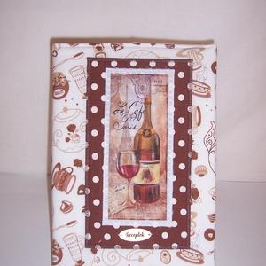 Recept gyűjtő füzet textil borítóval csészés fehér (textilcseppek) - Meska.hu