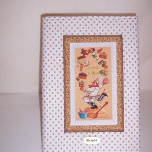 Recept gyűjtő füzet textil borítóval fehér pöttyös (textilcseppek) - Meska.hu