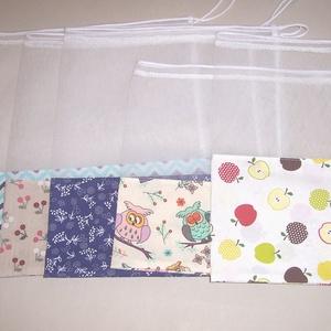 Textilzsák 5 db-os szett vegyes, Zöldség/Gyümölcs zsák, Bevásárlás & Shopper táska, Táska & Tok, Varrás, Különböző mintás anyagokból készült zsákok, hogy könnyebben megjegyezd, hogy melyikbe mit vettél elő..., Meska