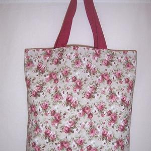 Bordó rózsa mintás táska normál füllel , NoWaste, Táska, Divat & Szépség, Táska, Szatyor, Varrás, Bordó rózsa mintás táska normál füllel \nNagyon szép bordó rózsa mintás vastagabb vászonanyagból kész..., Meska