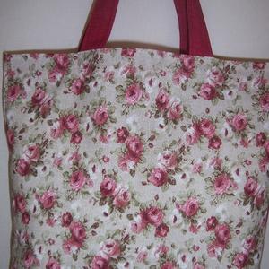 Bordó rózsa mintás táska normál füllel  (textilcseppek) - Meska.hu