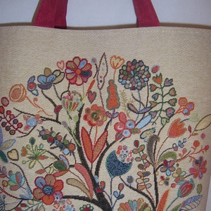 Nagy méretű erős táska normál füllel pipacsos (textilcseppek) - Meska.hu