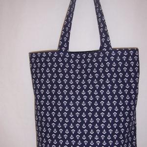 Kék vasmacska mintás táska , Táska, Divat & Szépség, NoWaste, Táska, Szatyor, Válltáska, oldaltáska, Varrás, Kék vasmacska mintás vastagabb vászonanyagból készítettem ezt a táskát.\n\nOldalán és alján dupla varr..., Meska