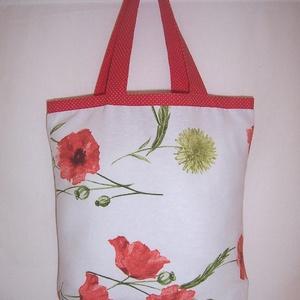 Pipacsos táska normál füllel, NoWaste, Táska, Divat & Szépség, Táska, Szatyor, Válltáska, oldaltáska, Varrás, Szeretnéd megóvni gyermekednek, unokádnak a természetet.\n\nHasználj minél kevesebb műanyag táskát, sz..., Meska