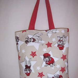 Kutya mintás táska piros, NoWaste, Táska, Divat & Szépség, Táska, Szatyor, Válltáska, oldaltáska, Varrás, Kutya mintás vastagabb vászonanyagból készítettem ezt a táskát.\n\nOldalán és alján dupla varrással.\n\n..., Meska